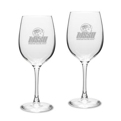 Set of 2 Etched 16 oz Large White Wine Glasses (Online Only)