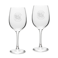 Set of 2 Etched Large White Wine Glasses (online only)