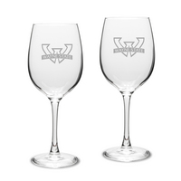 Set of 2 Etched Large White Wine Glasses