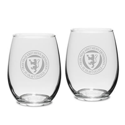 Set of 2 Etched 15 oz Stemless White Wine Glasses