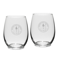 Set of 2 Etched 15 oz Stemless White Wine Glasses (Online Only)