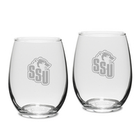 Set of 2 Etched Stemless White Wine Glasses (online only)