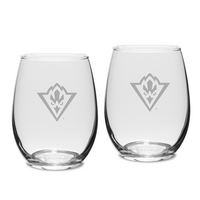 Set of 2 Etched Stemless White Wine Glasses