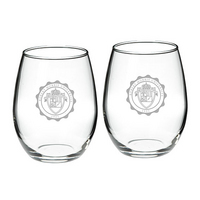Set of 2 Etched Stemless Red Wine Glasses (online only)