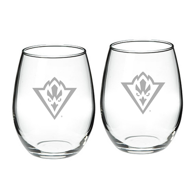 Set of 2 Etched Stemless Red Wine Glasses
