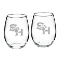 Set of 2 Etched 21 oz Stemless Red Wine Glasses