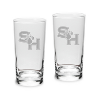 Set of 2 Etched 10 oz Highball Glasses