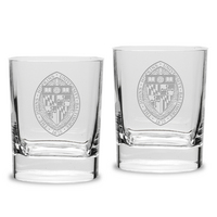 Set of 2 Etched 11.75 oz Luigi Bormioli Double Old Fashion Glasses