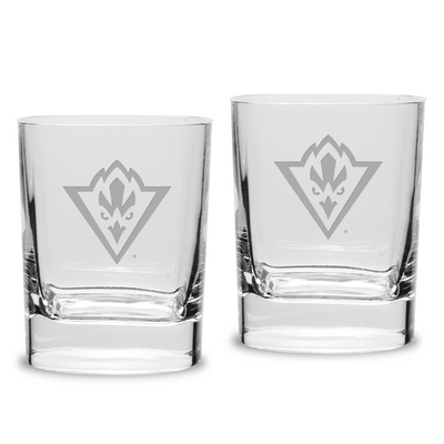 Set of 2 Etched Luigi Bormioli Double Old Fashion Glasses