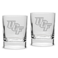 Set of 2 Etched 11.75 oz Luigi Bormioli Double Old Fashion Glasses (Online Only)