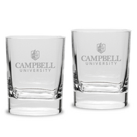 Set of 2 Etched Luigi Bormioli Double Old Fashion Glasses (online only)