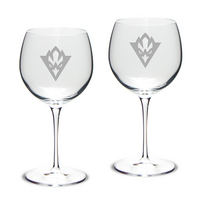 Set of 2 Etched Luigi Bormioli Red Wine Glasses (online only)
