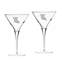 Set of 2 Etched 10 oz Luigi Bormioli Martini Glasses (Online Only)