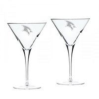Set of 2 Etched Luigi Bormioli Martini Glasses (online only)