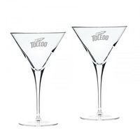 Set of 2 Etched Luigi Bormioli Martini Glasses