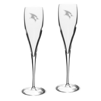 Set of 2 Etched Luigi Bormioli Toasting Glasses (online only)