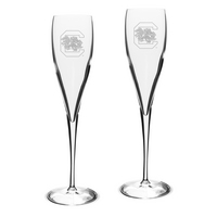 Set of 2 Etched Luigi Bormioli Toasting Glasses