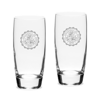Set of 2 Etched 20 oz Luigi Bormioli Cooler Glasses (Online Only)