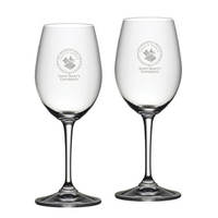 Set of 2 Etched Riedel Red Wine Glasses