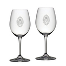 Set of 2 Etched 12 oz Riedel White Wine Glasses