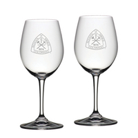 Set of 2 Etched Riedel White Wine Glasses