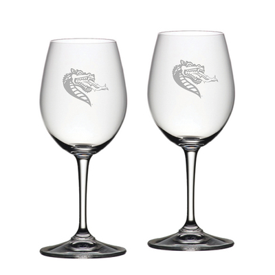 Set of 2 Etched 12 oz Riedel White Wine Glasses (Online Only)