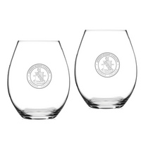 Set of 2 Etched Riedel Stemless Wine Glasses