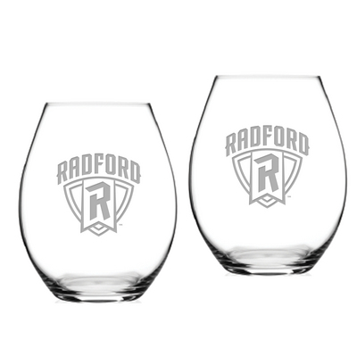 Set of 2 Etched 20 oz Riedel Stemless Wine Glasses