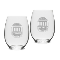 Gift Set of 2 Etched 21 oz Riedel Stemless Wine Glasses