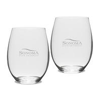 Gift Set of 2 Etched Riedel Stemless Wine Glasses