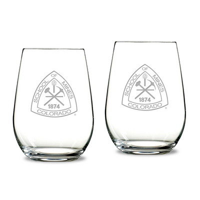Gift Set of 2 Etched 13.25 oz Riedel Stemless Wine Glasses