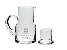 Etched Water Carafe & Glass 5.5 x 3H