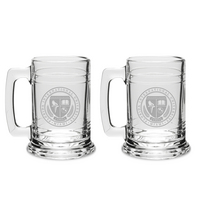 Set of 2 Etched 15 oz Beer Tankard Glasses