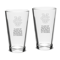 Set of 2 Pint Glasses 16 oz  Class 2021