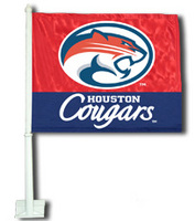 Houston Cougars Car Flag with Plastic Rod