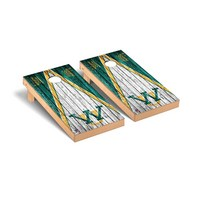 College Vault Wayne State Warriors Regulation Cornhole Game Set Weathered Triangle Version