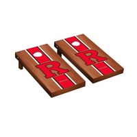 Rutgers Scarlet Knights Regulation Cornhole Game Set Rosewood Stained Stripe Version