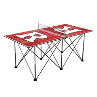 Rutgers University Scarlet Knights Pop Up Table Tennis 6ft Weathered Design