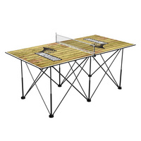 Lindenwood University Lions Pop Up Table Tennis 6ft Weathered Design