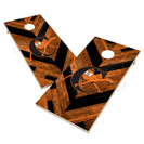 Campbell University Fighting Camel Solid Wood 2x4 Cornhole Board Set Herringbone Design