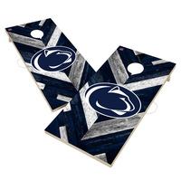 Penn State University Nittany Lions Solid Wood 2x4 Cornhole Board Set Herringbone Design