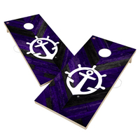 Portland Pilots Solid Wood 2x4 Cornhole Board Set Herringbone Design