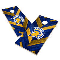 San Jose State University Spartans Solid Wood 2x4 Cornhole Board Set Herringbone Design