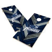 Marietta College Pioneers Solid Wood 2x4 Cornhole Board Set Herringbone Design