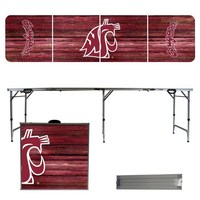 Washington State Cougars 8 Foot Portable Folding Tailgate Table Weathered Version