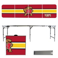 Maryland Terrapins 8 Foot Portable Folding Tailgate Table Stripe Version