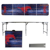 Southern Methodist University Mustangs SMU 8 Foot Portable Folding Tailgate Table Weathered Version