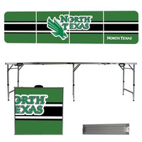 North Texas Mean Green 8 Foot Portable Folding Tailgate Table Stripe Version