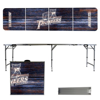 Marietta College Pioneers 8 Foot Portable Folding Tailgate Table Weathered Version