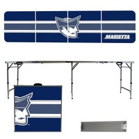 Marietta College Pioneers 8 Foot Portable Folding Tailgate Table Stripe Version